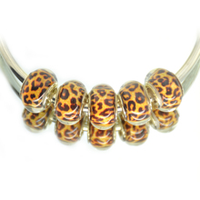 10pcs Leopard Colour European DIY Resin Bead Charms Acrylic Big Hole Beads Fit Pandor Bracelet&Bangle For Women Jewelry berloque(China)