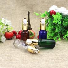 Top Grade 20ml Empty Glass Dropper Bottles Gold  lid New Style Parfume Essential Oil liquid Packaging Containers