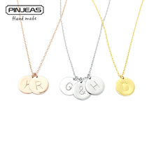 Buy PINJEAS Custom Handmade Charm Choker Necklace&Pendant Disc Initial Letter Monogram Circle Personalized Birthday Gift women for $8.24 in AliExpress store