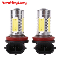 Buy automobiles 2Pcs/pair Xenon White H8 lamp H11 COB LED Bulb Car Auto Light Source Projector DRL Driving Fog Headlight Lamp 12V DC for $5.09 in AliExpress store