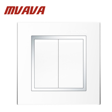 MVAVA 16A 110~250V 220V 2 Gang 1 Way Electrical Wiring Push Button Light Wall Switch White Chromed PC Frame Panel Push Switch