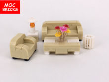 Set Sale MOC Bricks DIY Family Toys Furniture, Sofa, Tea table, Dustbin,Table lamp Educational Building Blocks Kids Gift(China)