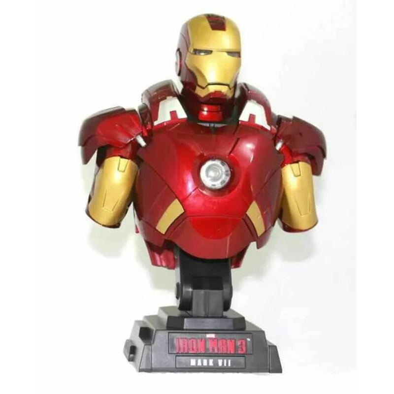 23CM Anime Iron Man Bust Action Figure 1/7 Scale Figure Light Red Ver Iron Man Bust MK7 Doll PVC ACGN Figure Toys Brinquedos <br><br>Aliexpress