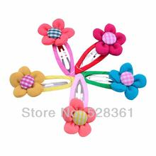 "5 Pairs Cute Girls Childrens Small 2"" Fabric Flower with Button Center Hairbow Clips Covered Hair Snap Clip Mixed in 5 Colors"