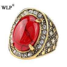 WLP Vintage Big red resin Antique Mosaic Colorful Precious Stone Rings For Women Size 6 7 8 9 10 Turkish Jewelry wedding ring(China)