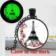 Glow in the dark Necklace Pendants,Hearts Eiffel Tower Necklace Romance Paris Necklace Valentine Gift Art Photo  Glowing Jewelry