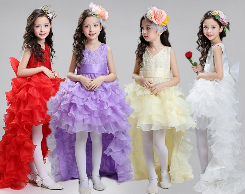 Retail 5 Colors  New Arrival Baby Summer Girls Dress White Wedding Dress After Short Before Long Lace Gown free shippingK1731<br>