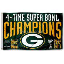 Green Bay Packers 4 Time Super Bowl Champions Sports Banner Basketball Flag 3' x 5' Custom Hockey Baseball Football Flag