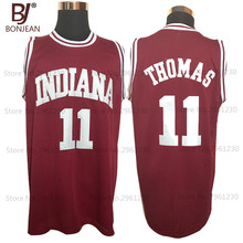 BONJEAN Cheap Basketball Jerseys 11# Isiah Thomas Indiana Hoosiers College Stitched Vintage Throwback Burgundy Red Jersey(China)