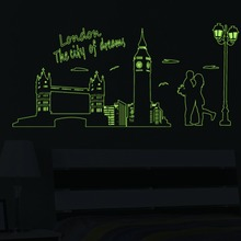 2015 NEW DESIGN London the city of dreams decoration luminous stickers wall home living room decals glow in the dark 9603(China)