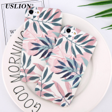 USLION Colorful Painted Green Leaves Case For iPhone 7 6 6S Plus Leaf Pattern Phone Case Ultrathin Hard PC Full Back Cover Coque(China)