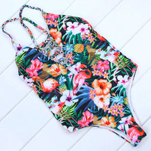 Buy M&M New 2018 Bandage Swimwear Women Sexy One Piece Swimsuit Floral Print Monokini Swimsuit Beach Wear Bathing Suit Bodysuit Swim