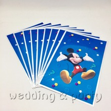 10pcs/lot Happy Baby Bath Mickey Mouse Cartoon Children Boy Birthday Party Decorative Supplies Plastic Sweet Candy Gift Bag(China)