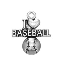 selling fashion I love BASEBALL metal charms(China)