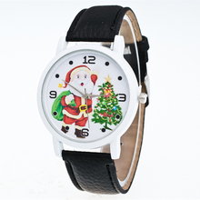 The new leisure male and female watches Santa Claus Clockwise display color Stainless steel dial quartz leather watches(China)