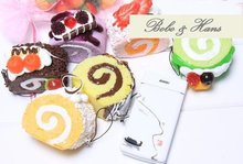 New Cute Sweet cakes style squishy charm / PU mobile phone strap / Wholesale(China)