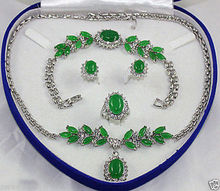FREE SHIPPING Jewelry 001115 Green Necklace Bracelet Earring Ring Sets(China)