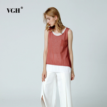 VGH Sleeveles Knitted Sweater Tank Tops Women Summer Thin Loose Knitting Pullovers Vest Female Jumper Casual Clothes(China)