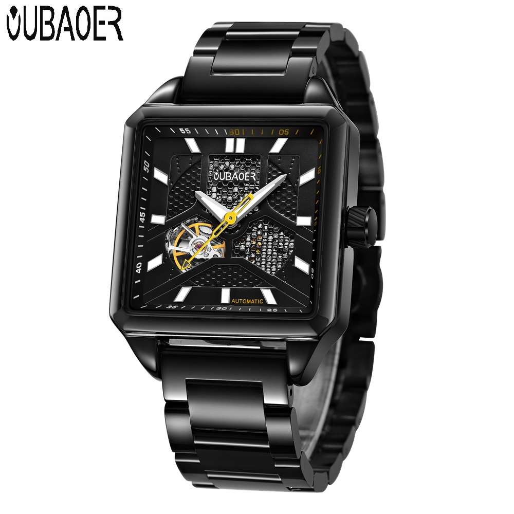 OUBAOER Men Luxury Brand Mechanical Watches for Men Waterproof Business Classic Automatic Watches Genuine Leather Strap Clock<br>