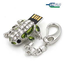 Crystal usb flash drive 64GB 32GB 16GB 8GB 4GB pen drive pendrive waterproof diamond usb stick frog memoria stick flash drive(China)