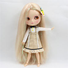 Nude Doll M-47-280BL3139 mix hair long straight hair no bangs joint nude icy doll shinning hair