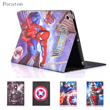 Pocaton For iPad 2/4 case Marvel American comics Spider-Man For new iPad case Superman Batman Smart Cover protective case(China)