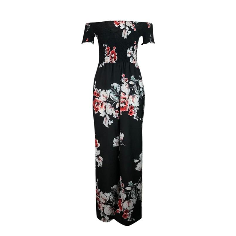 Woman Summer Jumpsuit 2018 New Elegant Off Shoulder Sexy Strapless Floral Print High Waist Jumpsuits Playsuits Wholesale #L09 (5)