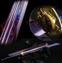 Thoroughly Tempered Top Quallty Blue Damascus Steel Blade Sharp Chinese Broadsword Tang Dynasty Style Warrior DaDao Sword Katana
