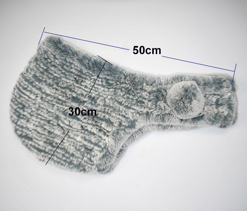 rex rabbit fur scarf hat grey size
