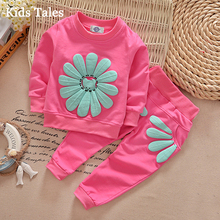2017 spring autumn girls children set clothes newborn girls sports suit sunflower children set clothes suit PR-034