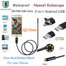 5.5MM Lens Mirco USB Android OTG USB Endoscope Camera 2M 5M 10M Waterproof Tube Pipe USB Borescope For Android PC