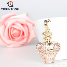 Cute Perfume bottles Pendant keychain Fashion Rhinestone Crystal Creative ladies dress handbag wallet Jewelry Llavero Chaveiro