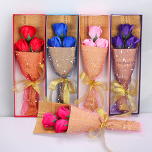 3pc/box Rose Soap Flower Bouquet Gift Box Gift For Teacher 's Day Mother's Day Valentine's Day Birthday New Year Wedding Decor