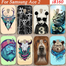 for Samsung Galaxy Ace 2 II i8160 8160 15 patterns colored painting case skull cat bear tiger lion painter hard back cover