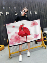 Track Ship+US EURO Plus Size M L XL XXL XXXL Fashion Dress Camis Fire Red Color Elegant Greater Flamingo King Crown Flowers 0193(Hong Kong)