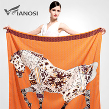 [VIANOSI]  Newest Bandana Silk Scarf Square Women Scarves Soft Fashion Print Big Size Horse Shawl Brand Package VA041