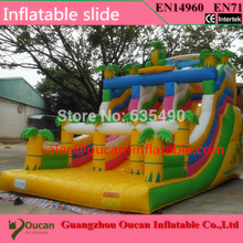 Free shipping commercial grade tropical palm tree inflatable slide for sale inflatable slide for adults including blower