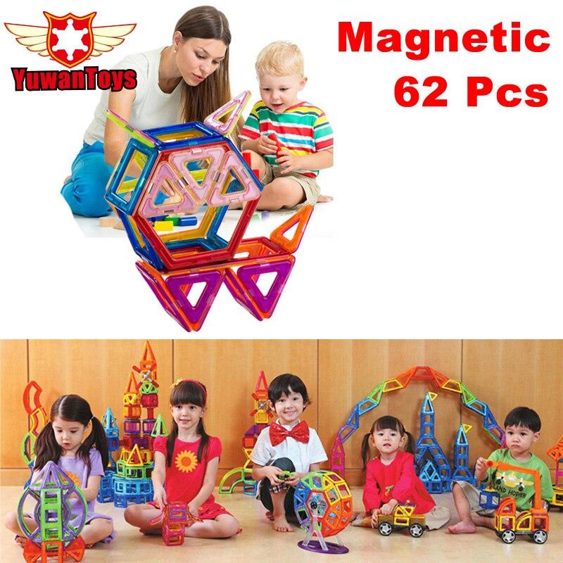 62Pcs/Lot Magnetic Designer Building Blocks 3D DIY Plastic Creative Models Bricks Learning Educational Toy Animal Blocks<br><br>Aliexpress