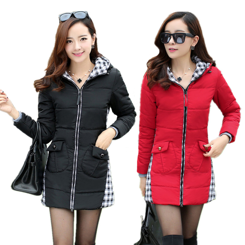 Parkas For Women Winter Down Cotton Jacket Slim Female Patchwork Long Outerwear Hooded Plus Size Winter Coat Women M-4XLОдежда и ак�е��уары<br><br><br>Aliexpress