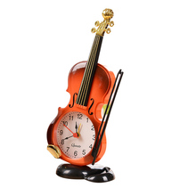 New Arrival Vintage Unique Violin Ancient Desk PO Clock Alarm Clock Office Supplies Home Decor Handmade Crafts Children Gift P5(China)