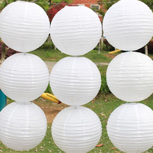 White paper lanterns 10pcs/lot 4''(10cm) Round paper lanterns lamps festival wedding decoration chinese paper lanterns(China)