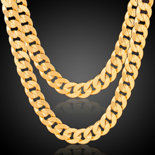 Hot Christmas Gifts Chunky Necklace For Men 6MM Thick Gold color Cuban Link Chain Steampunk Jewelry Wholesale
