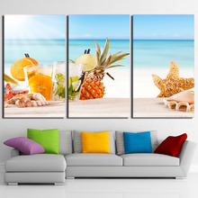 Canvas Wall Art Pictures Home Decor HD Prints 3 Pieces Ice Fruit Drink Painting Modern Beach Shells Poster Living Room Framework(China)