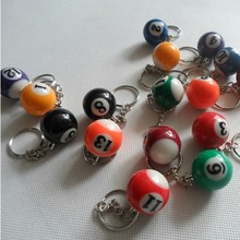 Free Shipping 10pcs/lot Billiard Ball Pool key ring Snooker keychain snooker doll 25mm snooker gift couple key chain