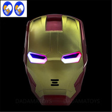 A Toy A Dream The Avengers 2 Figures Toys Iron man Motorcycle Helmet Mask Tony Stark Mark Cosplay with LED Light Action Figure(China)