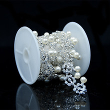 DIY New Hot Sale Wholesale Cat Eye Decorative Crystal Rhinestone Trimming With Pearl Garment,Necklace Wedding Decoration RC-1105