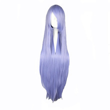 MCOSER 100cm Long Straight Light Blue Synthetic Cosplay Costume Wig 100% High Temperature Fiber Hair WIG-018L