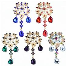 5Pcs/Lot New creative women's wedding party diamond alloy corsage color glass pendant brooch needle clothing accessories