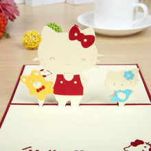 Factory outlet KITTY 3D HELLO stereo creative children's card birthday greeting card can be customized(China)