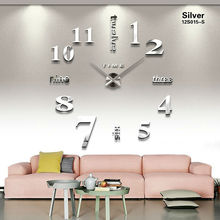 2017 new home decoration acrylic mirror large wall clock 3D DIY big size wall sticker clock modern design unique fashion gift(China)